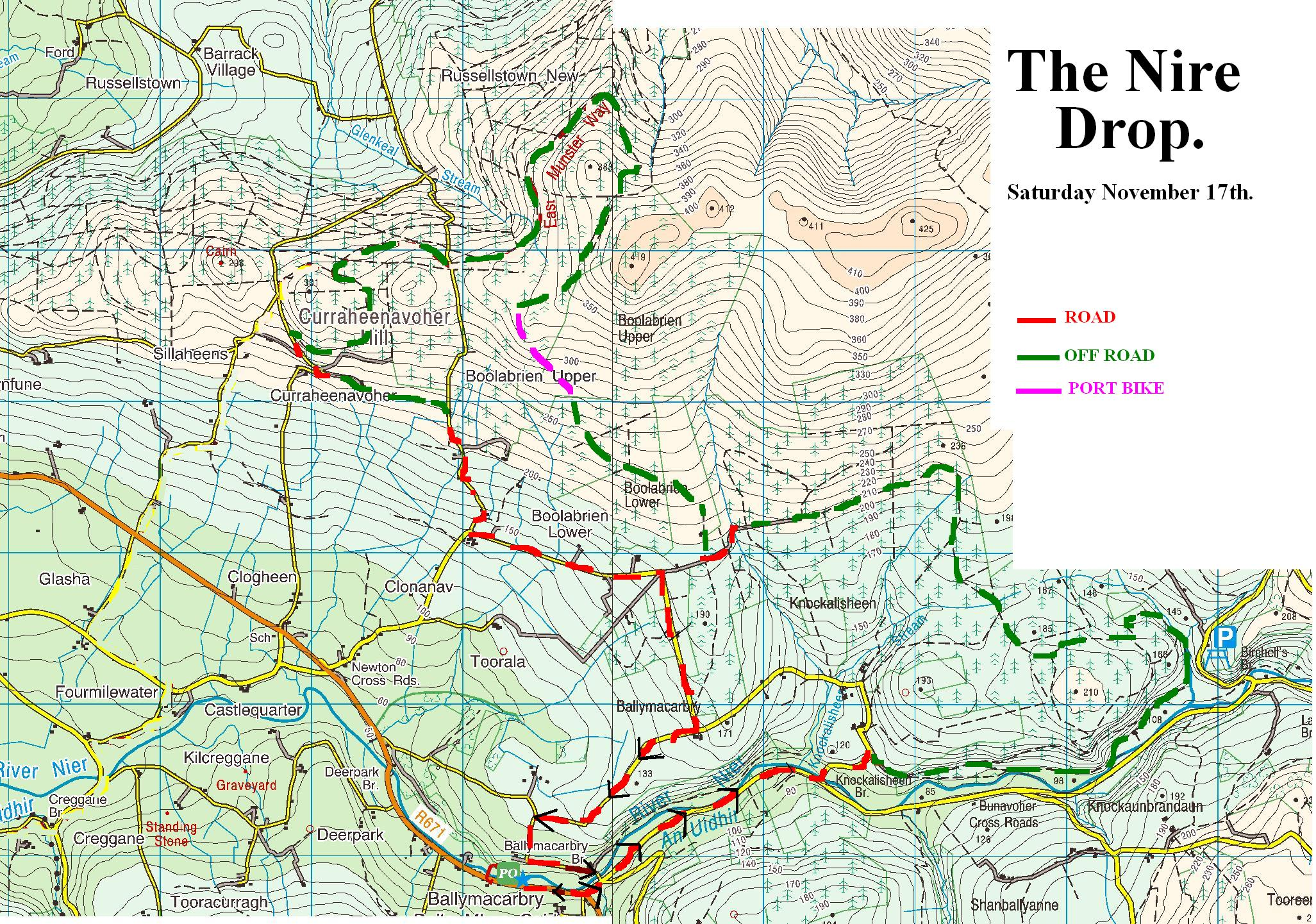 NIRE VALLEY DROP 2012  ROUTE MAP  ballymaccycle